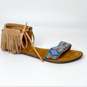 Z&L Boho Fringe Beaded Ankle Strap Sandals
